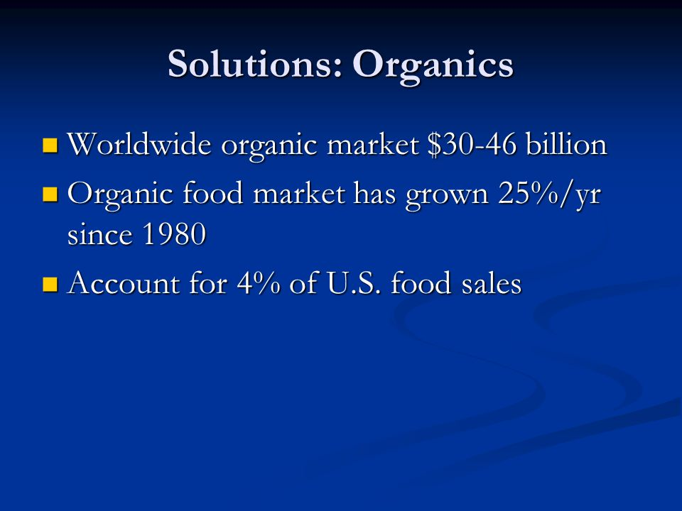 Solutions: Organics Worldwide organic market $30-46 billion