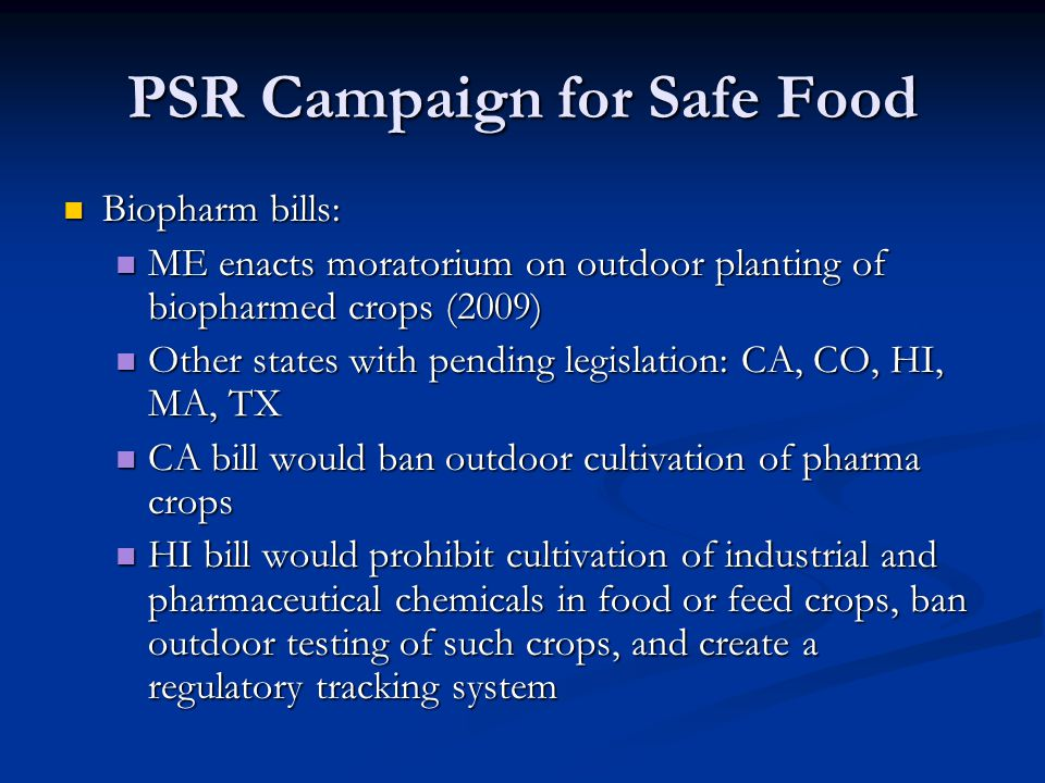 PSR Campaign for Safe Food