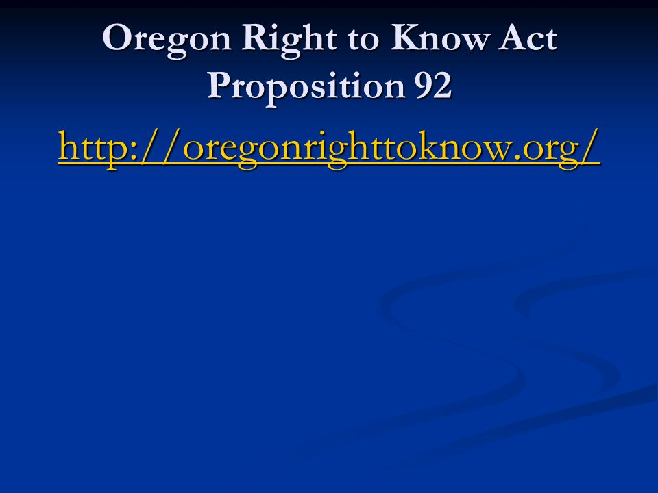 Oregon Right to Know Act Proposition 92