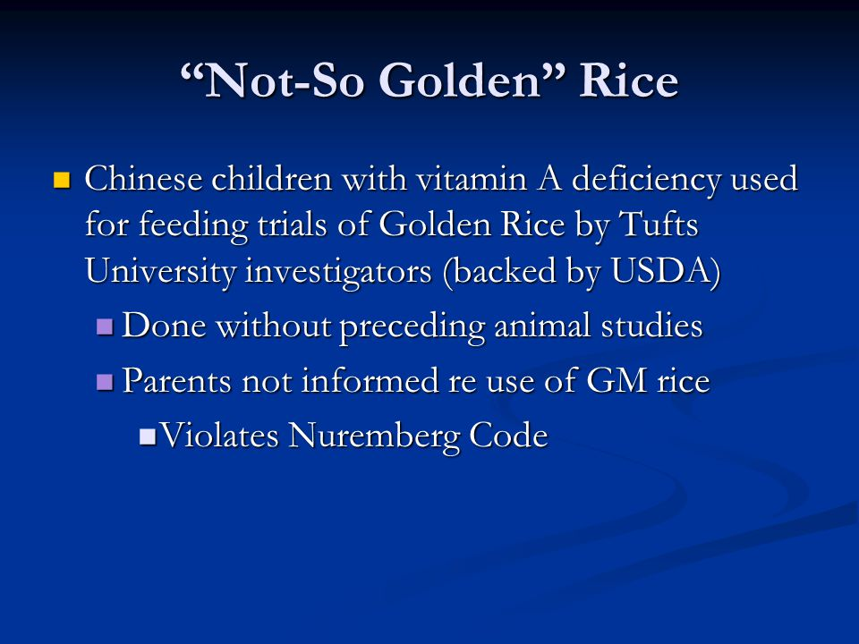 Not-So Golden Rice