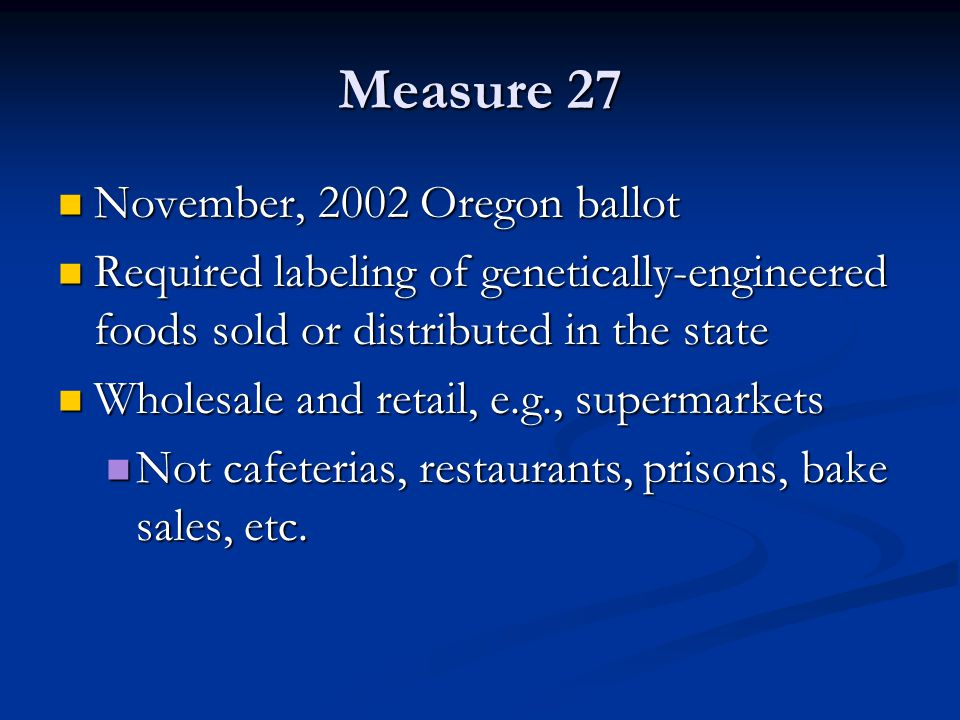Measure 27 November, 2002 Oregon ballot