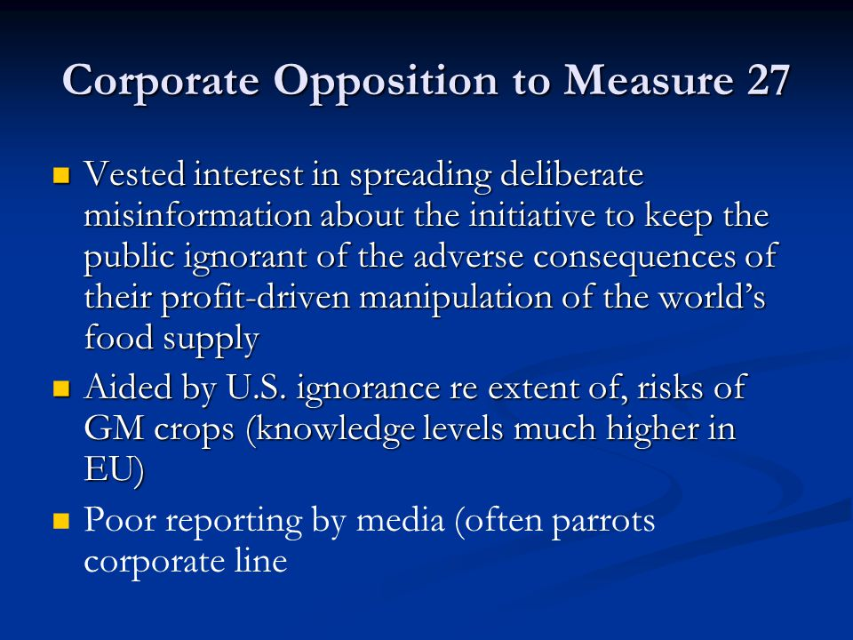 Corporate Opposition to Measure 27