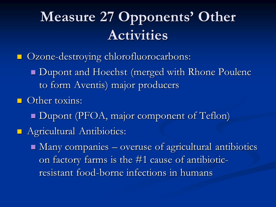 Measure 27 Opponents' Other Activities