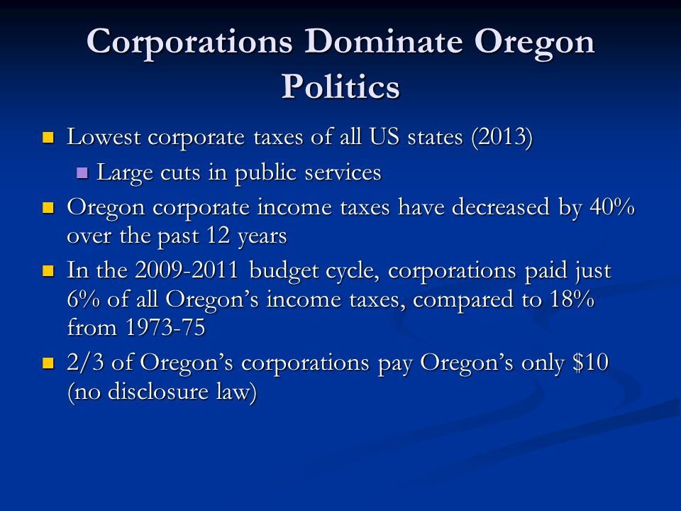 Corporations Dominate Oregon Politics