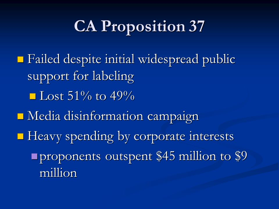 CA Proposition 37 Failed despite initial widespread public support for labeling. Lost 51% to 49% Media disinformation campaign.