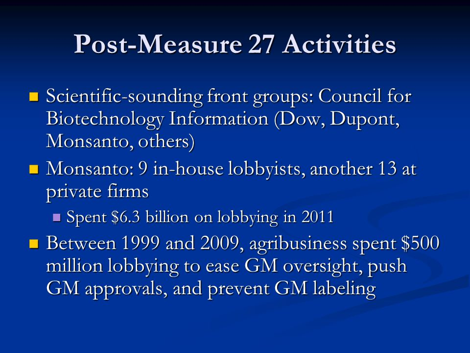 Post-Measure 27 Activities