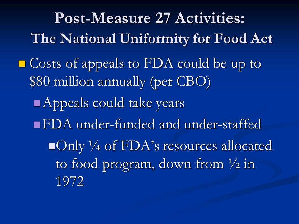 Post-Measure 27 Activities: The National Uniformity for Food Act