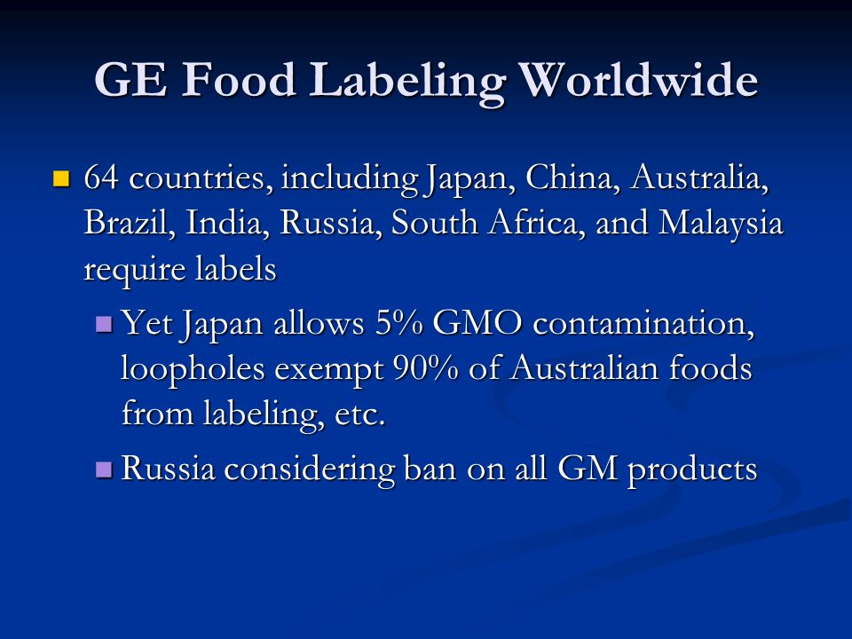 GE Food Labeling Worldwide