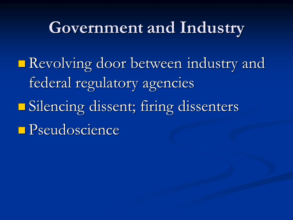 Government and Industry