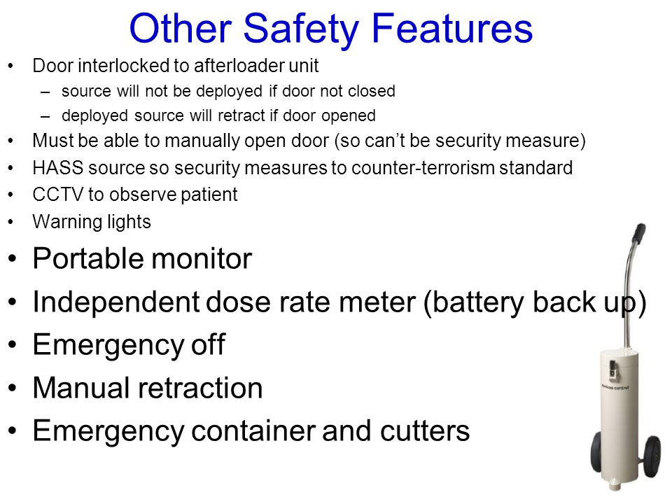 Other Safety Features Portable monitor