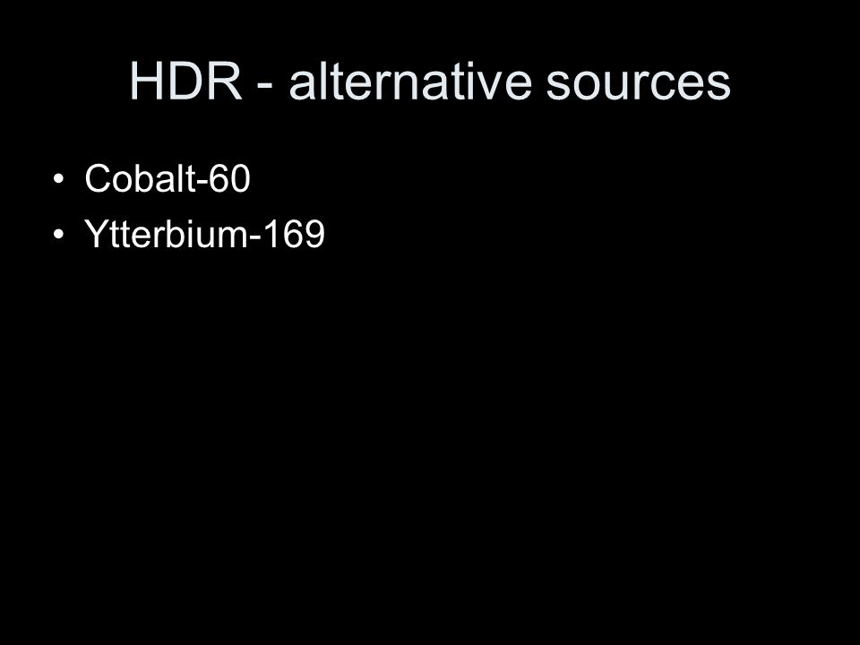 HDR - alternative sources