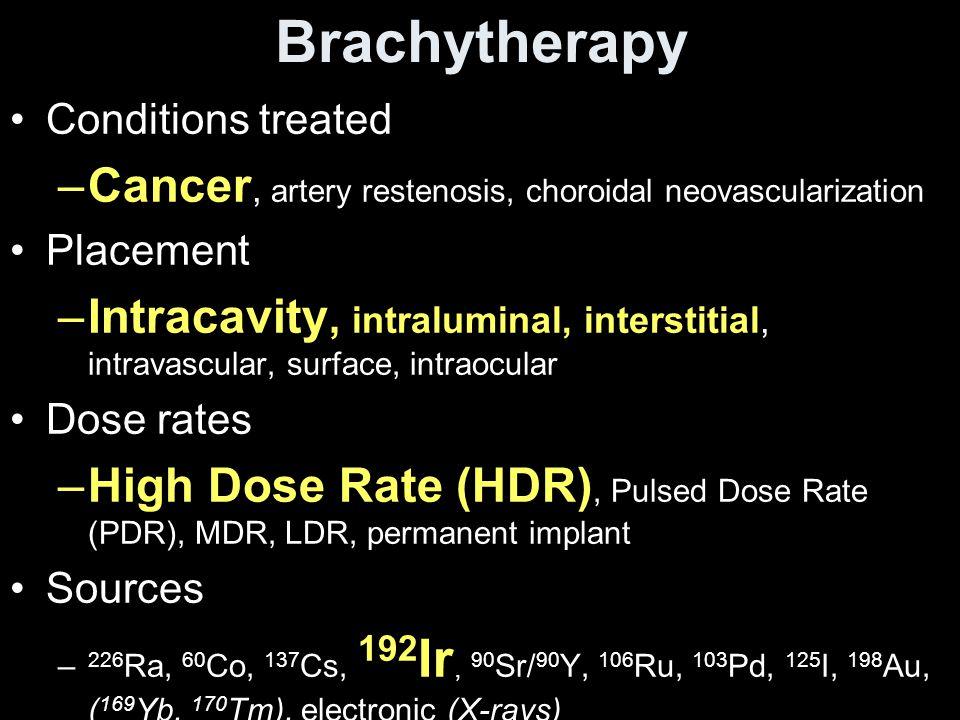 Brachytherapy Cancer, artery restenosis, choroidal neovascularization