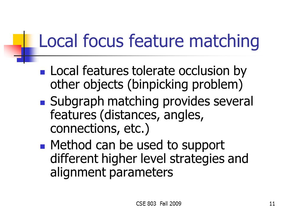 Local focus feature matching