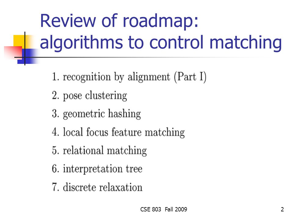 Review of roadmap: algorithms to control matching