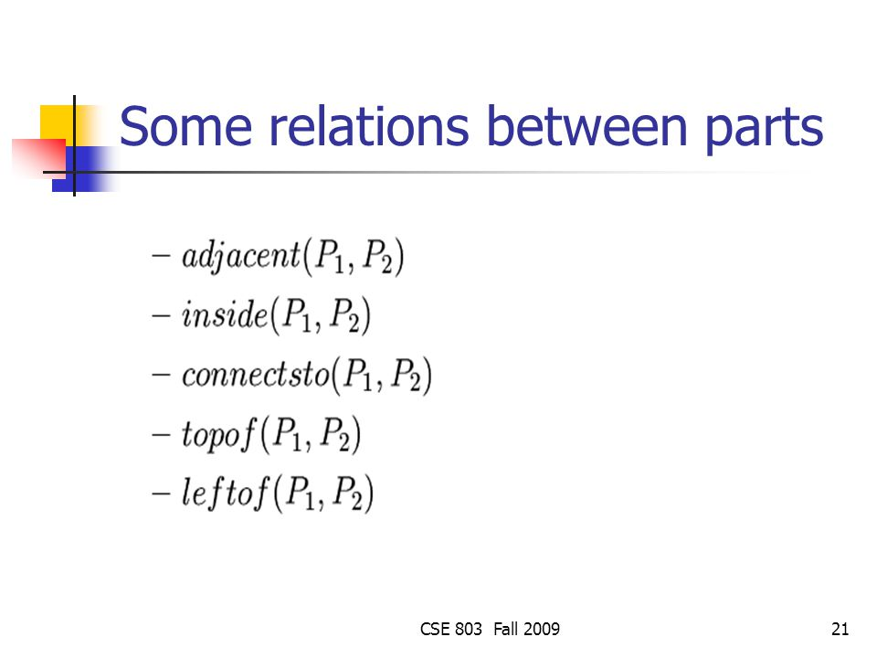 Some relations between parts
