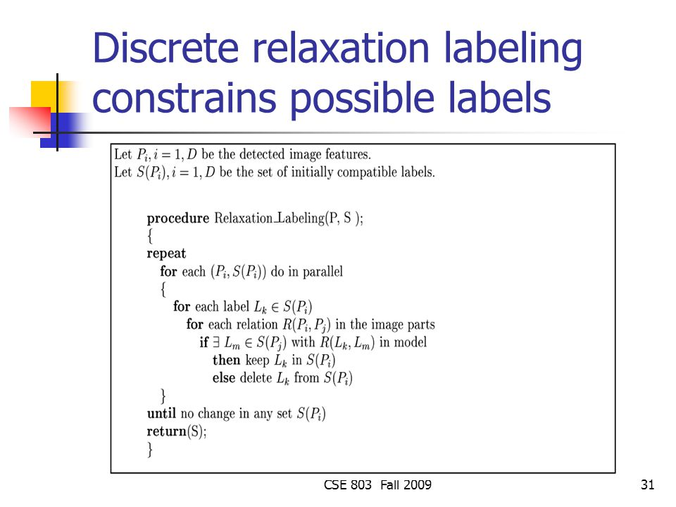 Discrete relaxation labeling constrains possible labels