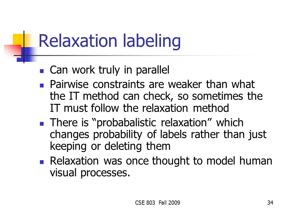 Relaxation labeling Can work truly in parallel
