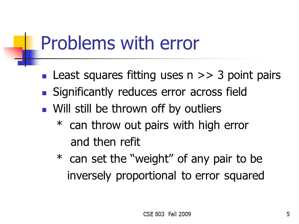 Problems with error Least squares fitting uses n >> 3 point pairs. Significantly reduces error across field.
