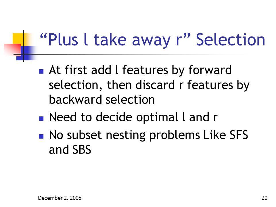 Plus l take away r Selection