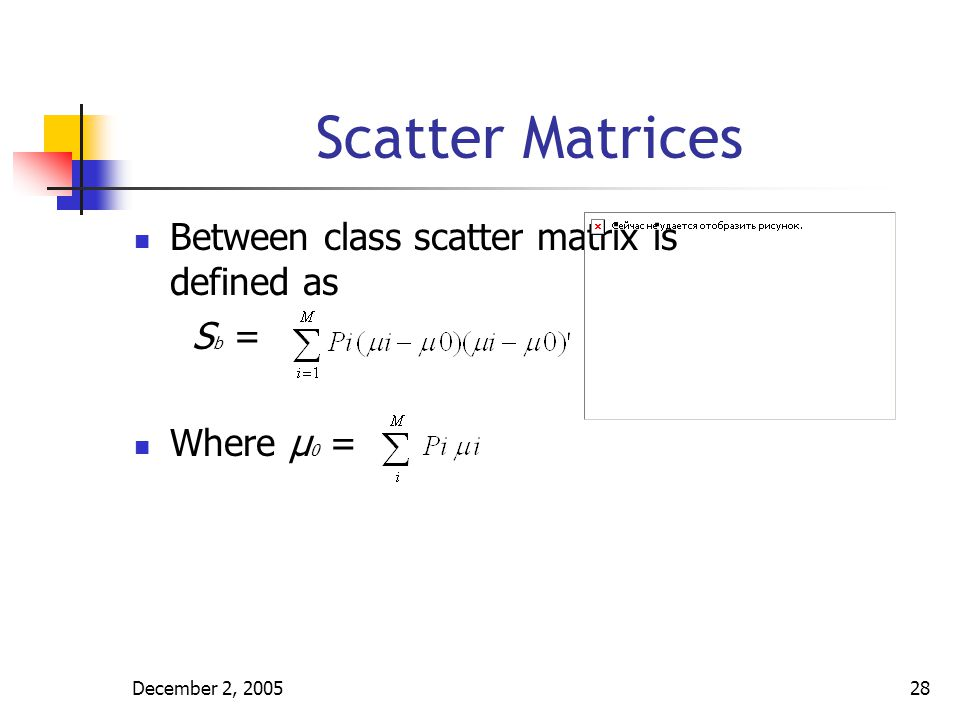 Scatter Matrices Between class scatter matrix is defined as Sb =