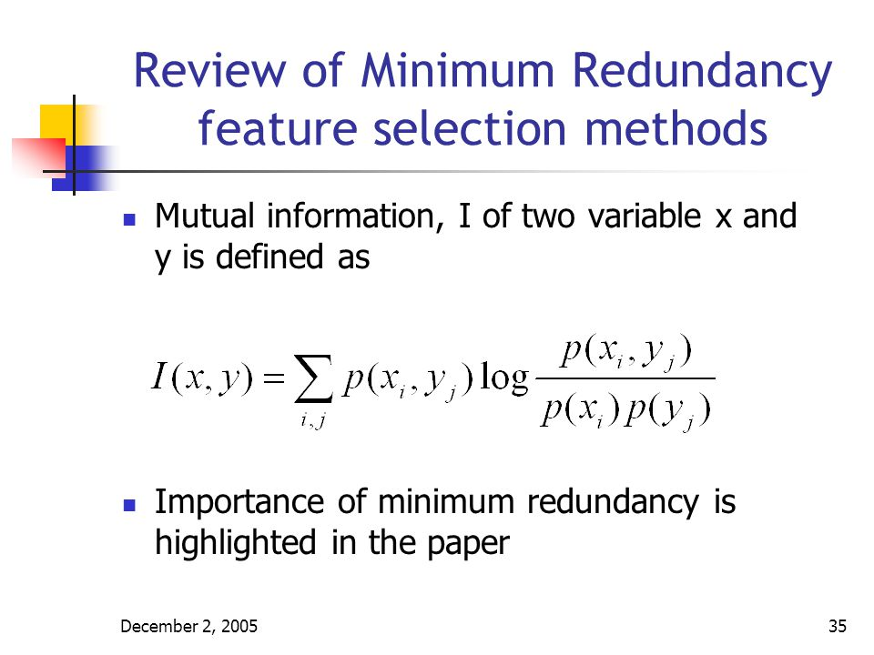 Review of Minimum Redundancy feature selection methods