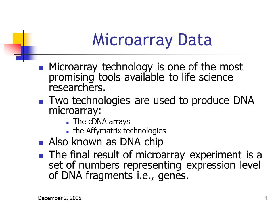 Microarray Data Microarray technology is one of the most promising tools available to life science researchers.