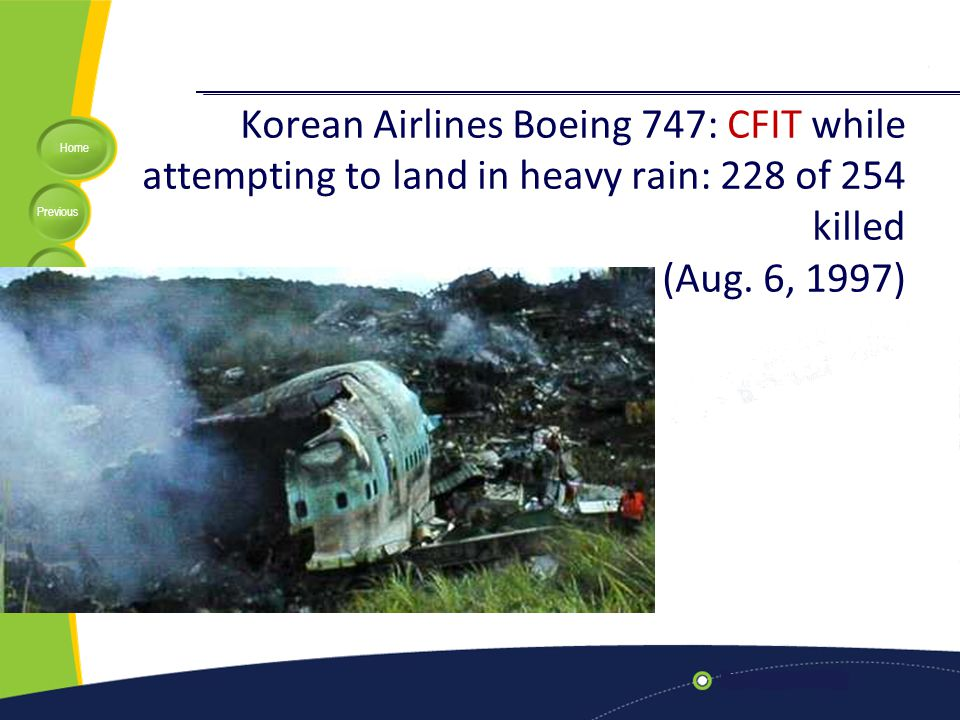 Korean Airlines Boeing 747: CFIT while attempting to land in heavy rain: 228 of 254 killed (Aug. 6, 1997)