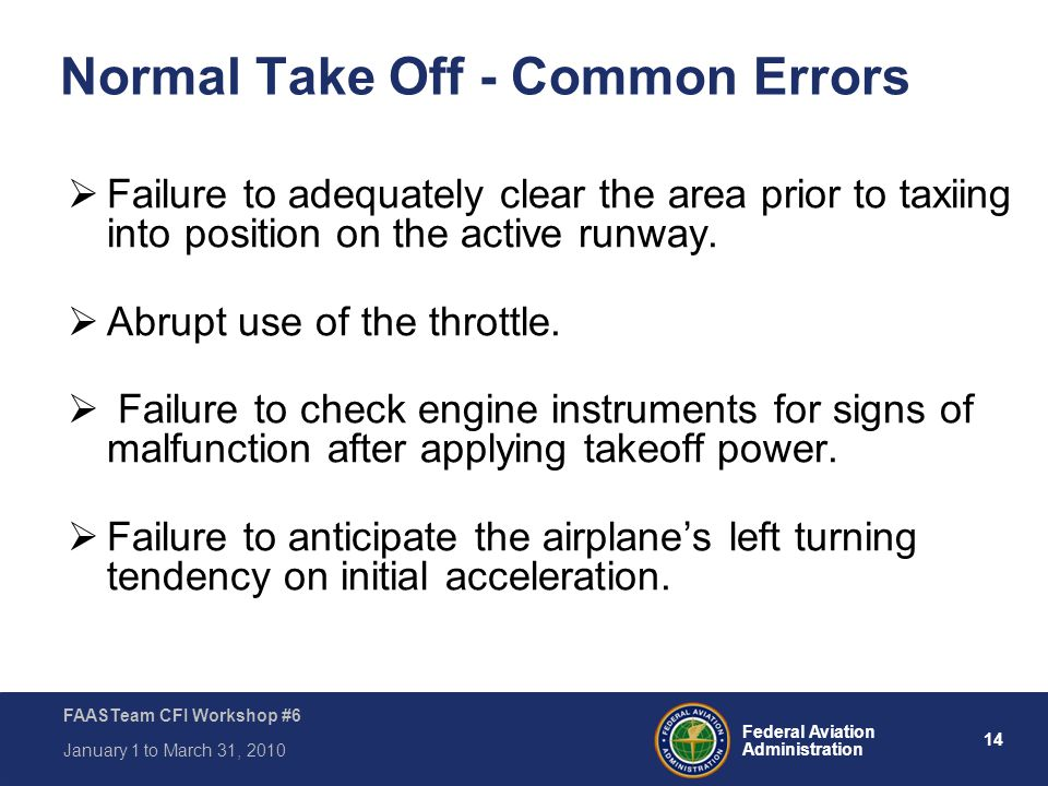 Normal Take Off - Common Errors