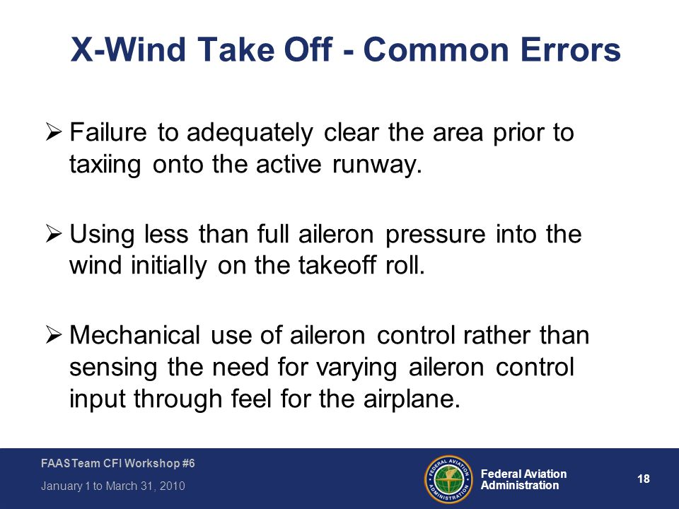 X-Wind Take Off - Common Errors