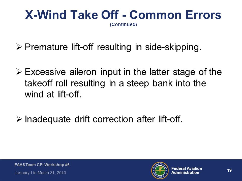 X-Wind Take Off - Common Errors (Continued)