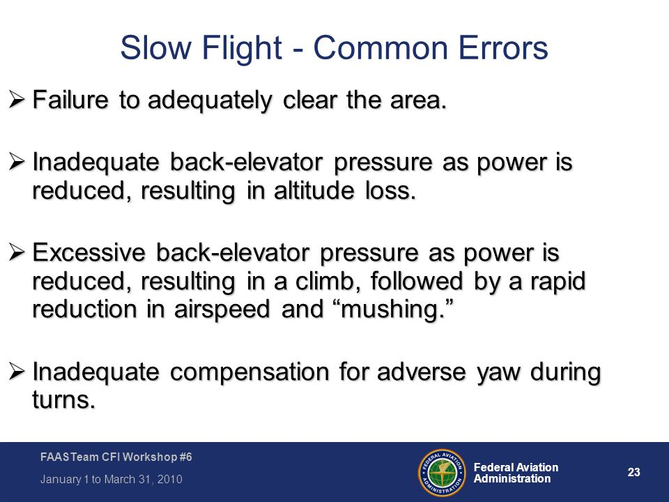 Slow Flight - Common Errors