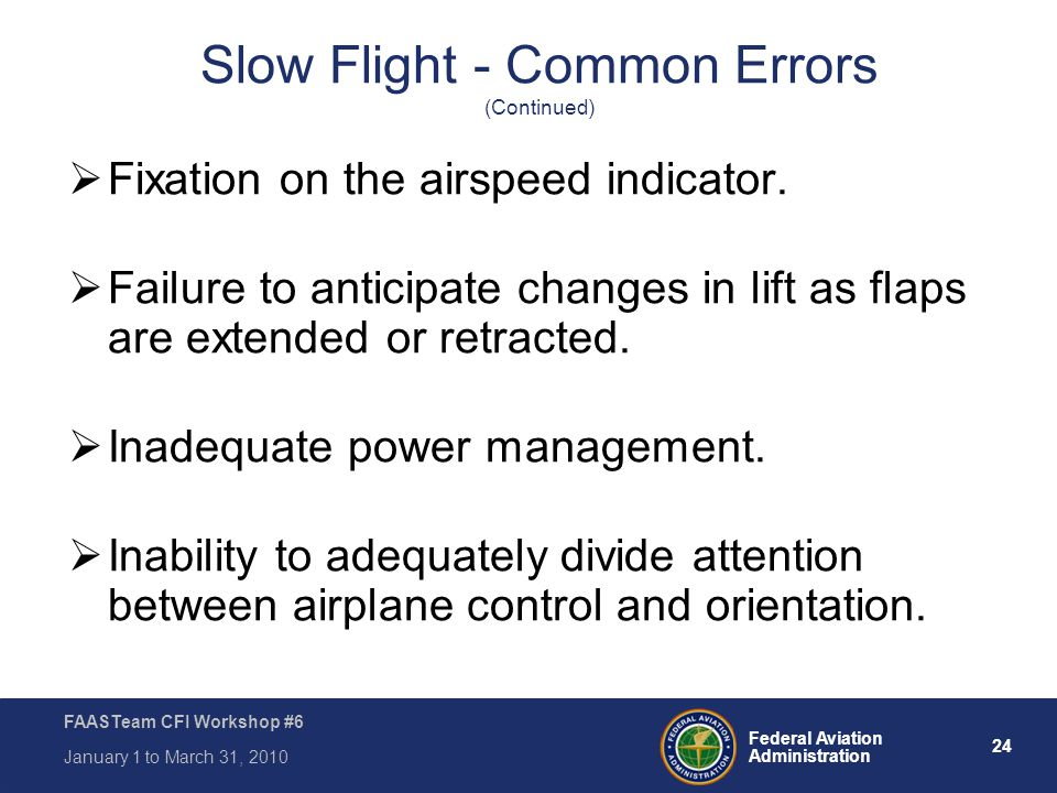 Slow Flight - Common Errors (Continued)