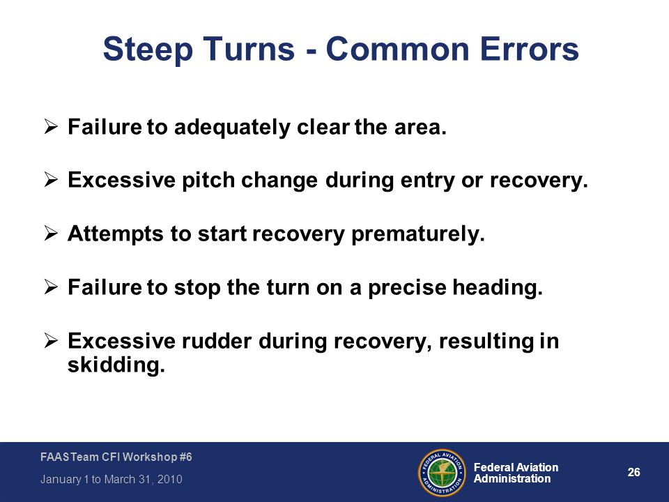 Steep Turns - Common Errors
