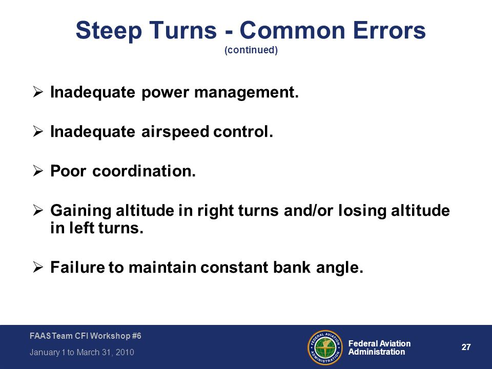 Steep Turns - Common Errors (continued)