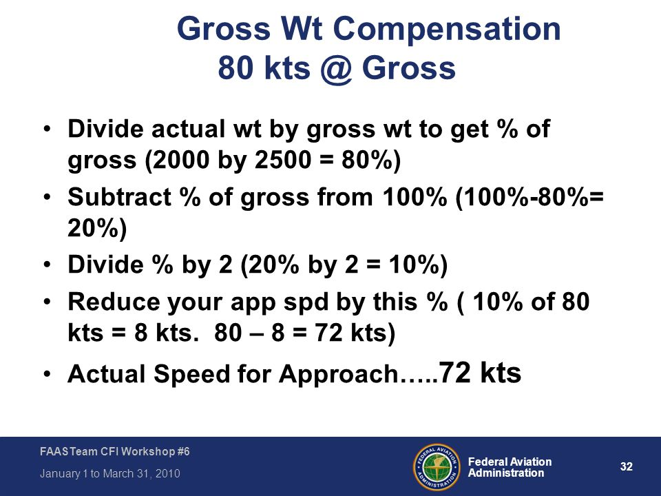 Gross Wt Compensation 80 kts @ Gross