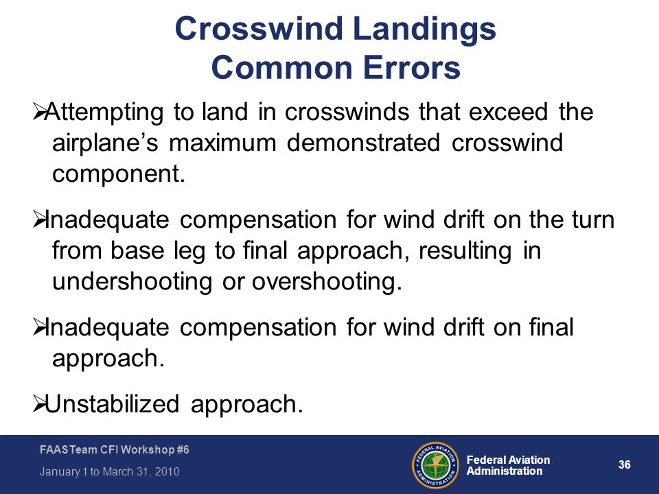 Crosswind Landings Common Errors