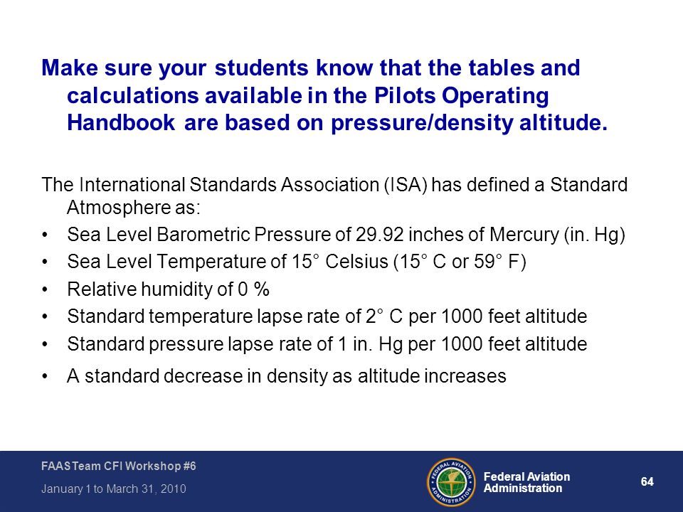 Make sure your students know that the tables and calculations available in the Pilots Operating Handbook are based on pressure/density altitude.