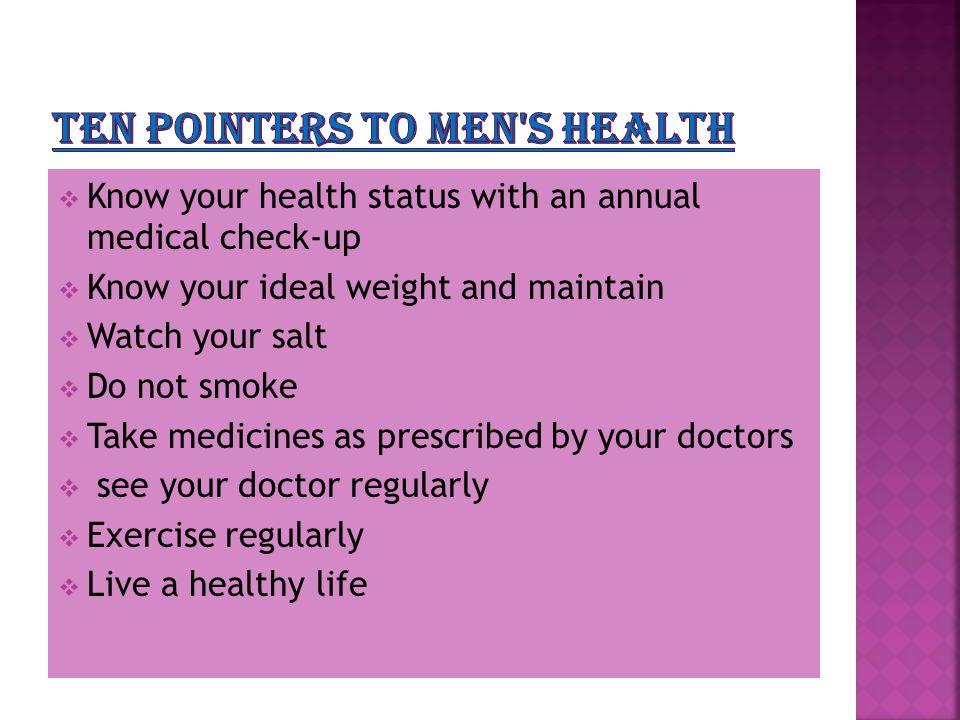 Ten pointers to men s health