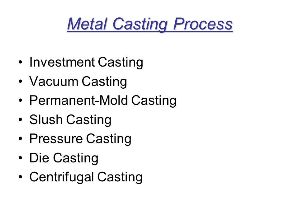 Metal Casting Process Investment Casting Vacuum Casting
