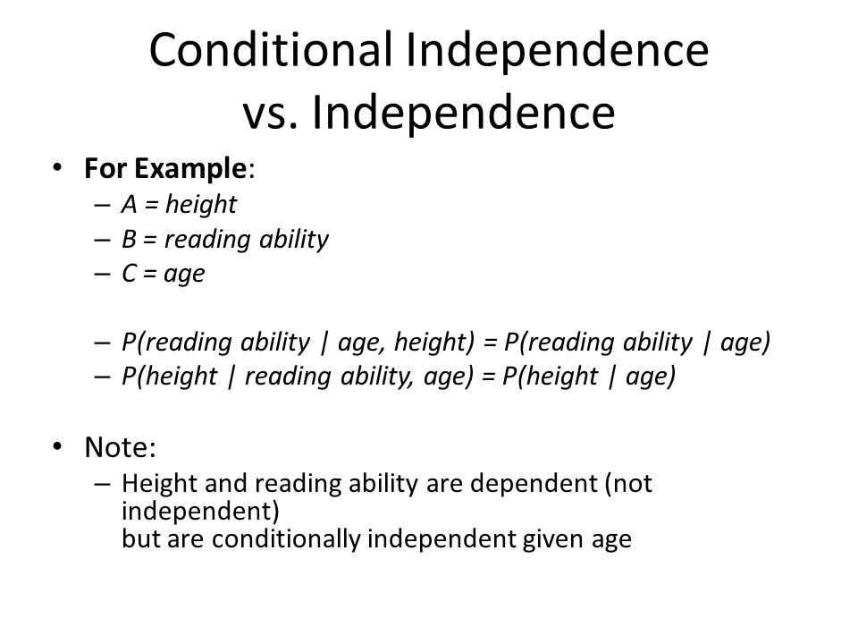 Conditional Independence vs. Independence