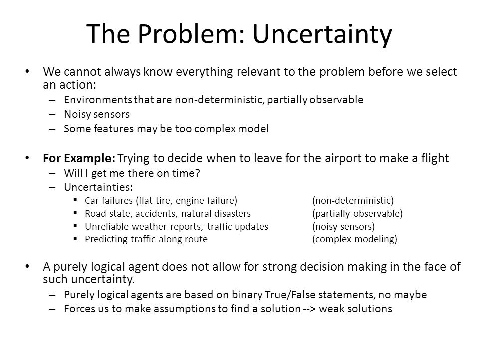 The Problem: Uncertainty