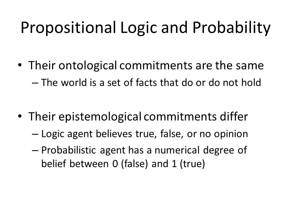 Propositional Logic and Probability