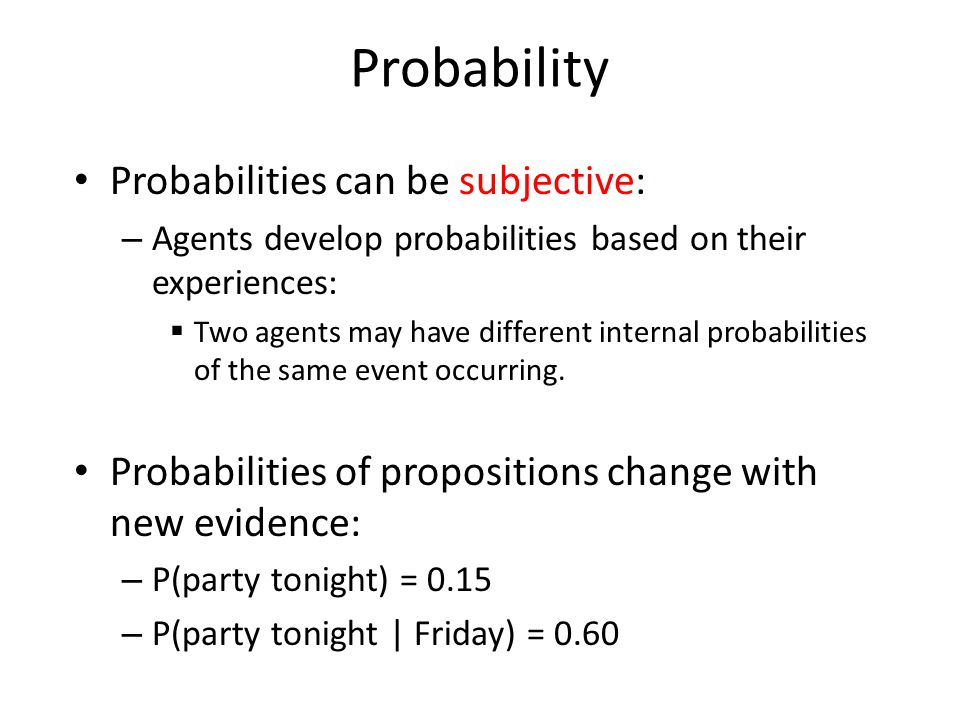 Probability Probabilities can be subjective: