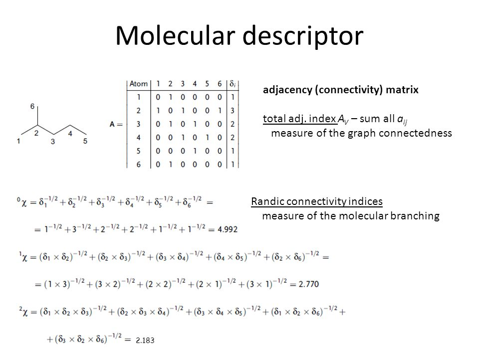 Molecular descriptor adjacency (connectivity) matrix