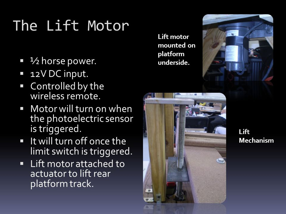 The Lift Motor ½ horse power. 12V DC input.