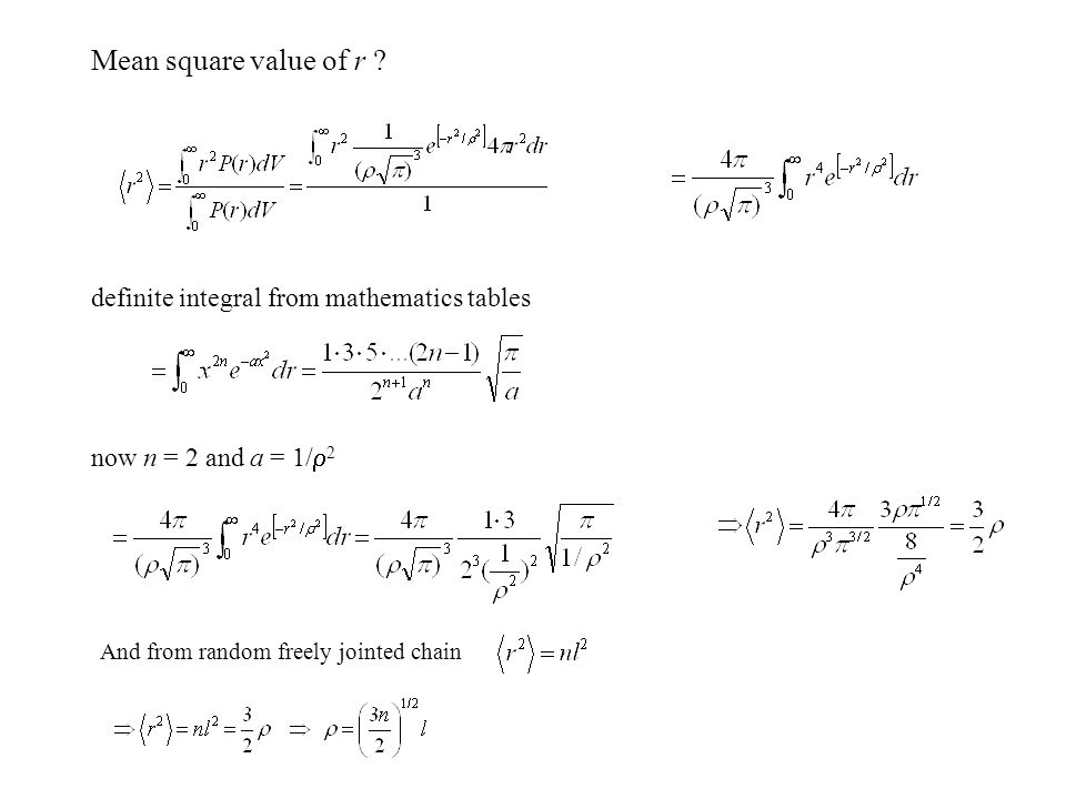 Mean square value of r definite integral from mathematics tables