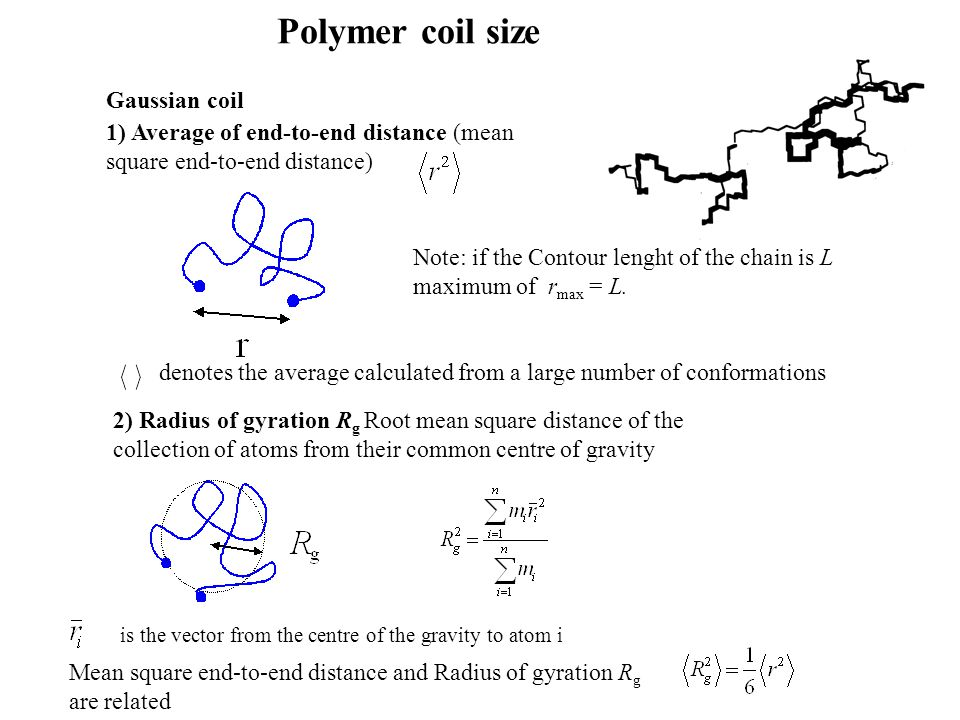 Polymer coil size Gaussian coil