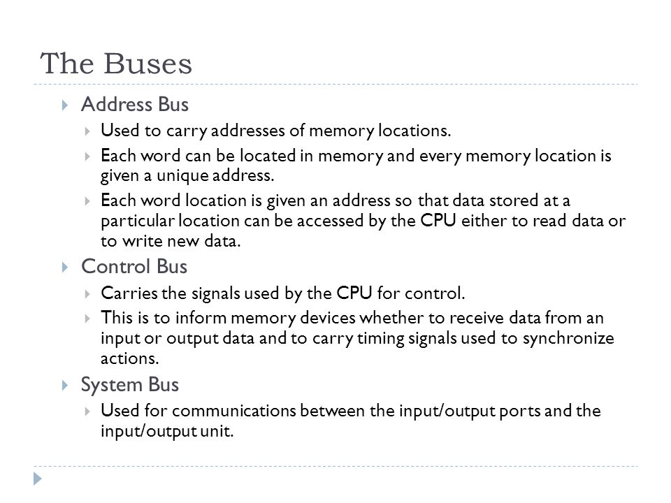 The Buses Address Bus Control Bus System Bus