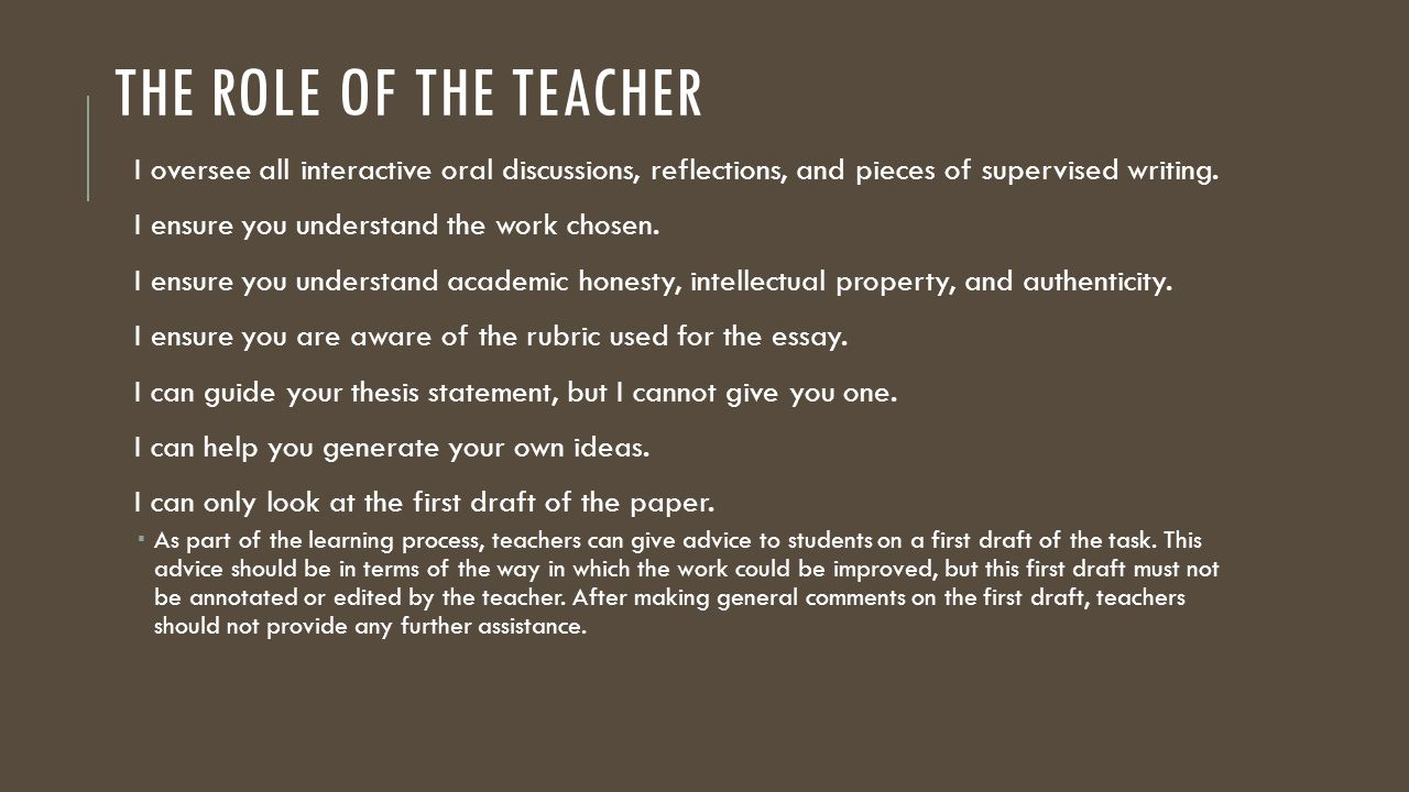 The Role of the Teacher I oversee all interactive oral discussions, reflections, and pieces of supervised writing.