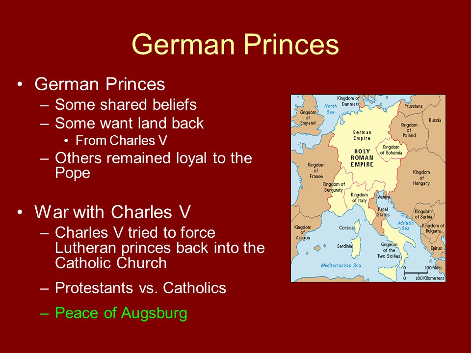 German Princes German Princes War with Charles V Some shared beliefs